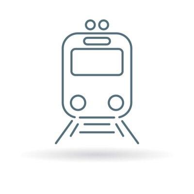 Naklejka Ikona tramwajowy. Tramwaj stacji znak. Symbol miasta Public Transport. Cienka linia ikon na białym tle. ilustracji wektorowych.
