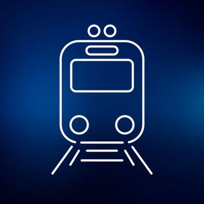 Naklejka Ikona tramwajowy. Tramwaj stacji znak. Symbol miasta Public Transport. Cienka linia ikon na niebieskim tle. ilustracji wektorowych.