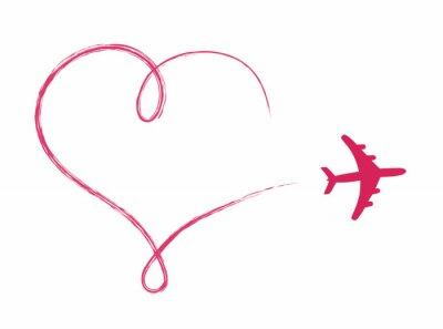 Naklejka Ikonę w kształcie serca w powietrzu, wykonane przez samolot