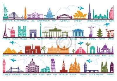 Naklejka Ikony atrakcji turystycznych świata. Symbole podróżują po całym świecie. Punkt orientacyjny i atrakcje
