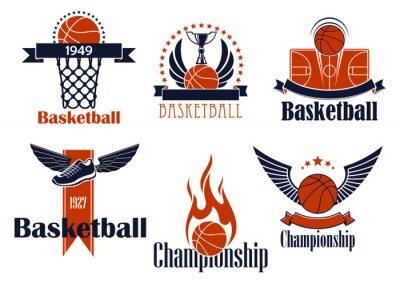 Naklejka Ikony Koszykówka sportowe z elementami gry