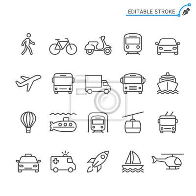 Naklejka Ikony linii transportu. Edytowalny obrys. Piksel idealny.