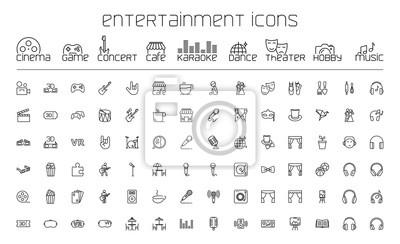 Naklejka ikony rozrywki cienka linia zestaw na białym tle