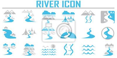 Naklejka Ikony rzeki i krajobrazu.