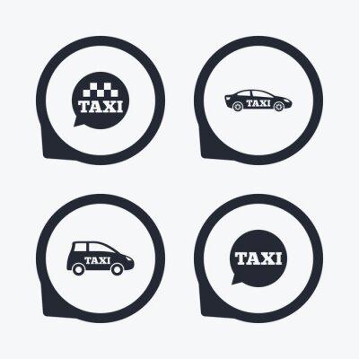 Naklejka Ikony transportu publicznego. Taxi znaki mowy bubble