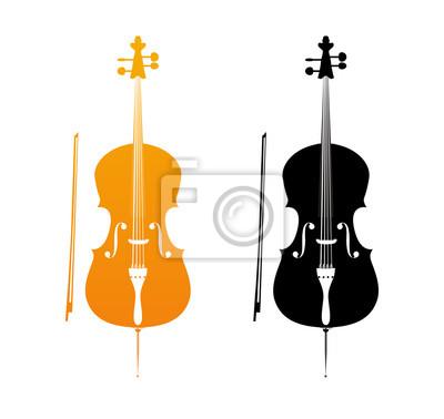 Naklejka Ikony wiolonczelę w kolorach złotym i czarnym - orkiestra Instrument muzyczny w struny pionowe ułożenia, Ilustracja wektora samodzielnie na białym tle.