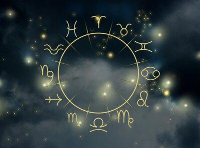 Naklejka Illustration of night sky with stars and zodiac wheel