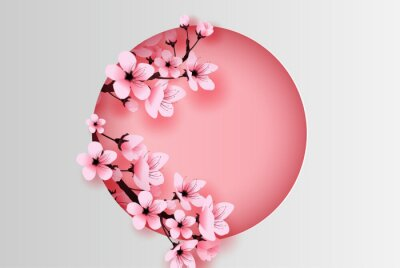 Naklejka illustration of paper art and craft circle decorated spring season cherry blossom concept,Springtime with sakura branch, Design Floral Cherry blossom with pink flowers on text space background,vector.