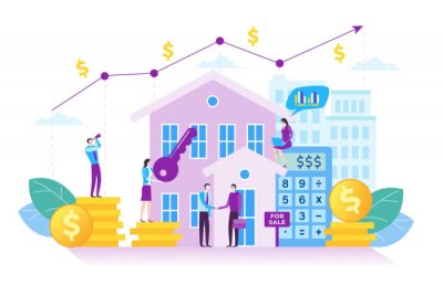 Naklejka Illustration of property investment. Investment growth concept in modern flat design. Illustration for landing page, web page, business presentation, marketing material and infographic