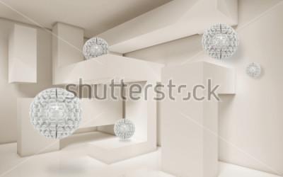 Naklejka Ilustracja 3D crystal ball wzór na dekoracyjnej tle 3D tapety. Graficzna sztuka współczesna