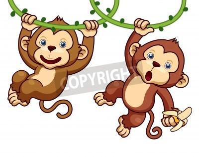 Naklejka Ilustracja Cartoon Monkeys
