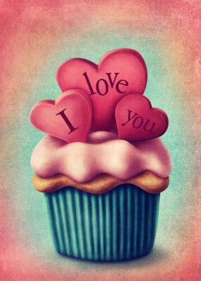 Naklejka Ilustracja cup cake
