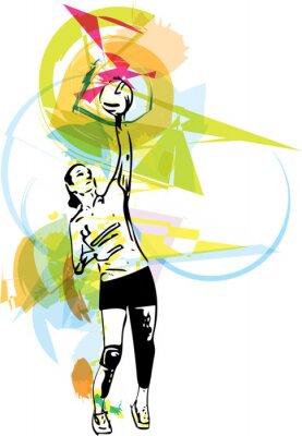 Naklejka Ilustracja do siatkówki gracza gry