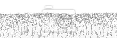 Naklejka Ilustracja duża masa ludzie od szerokiego kąta w czarny i biały