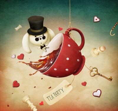 Naklejka Ilustracja fantasy z czerwoną herbatę i królika