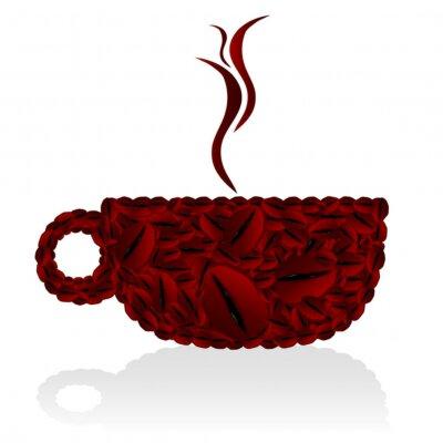 Naklejka ilustracja filiżanek kawy fasoli
