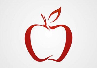 Naklejka Ilustracja jabłko czerwona linia wektor logo
