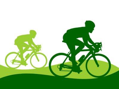 Naklejka Ilustracja - jazda na rowerze