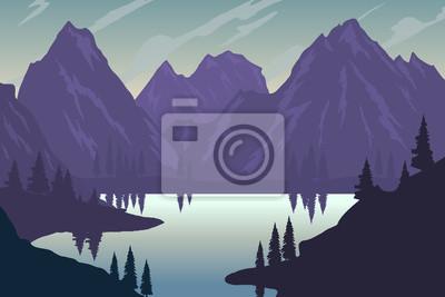 Ilustracja krajobraz górski w stylu płaski. Element projektu plakatu, ulotki, prezentacji, broszury.