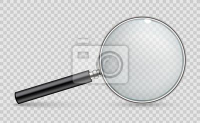 Naklejka Ilustracja kreatywnych wektor realistyczny szkło powiększające na przezroczystym tle. Poszukiwanie projektu artystycznego, symbol inspekcji. Powiększenie lupy abstrakcyjne pojęcie, narzędzie z element
