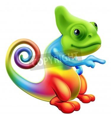 Naklejka Ilustracja kreskówka maskotka kameleon tęczy stały i wskazując