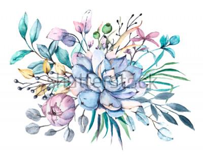 Naklejka Ilustracja kwiat akwarela, kwiatowy niebieski, fioletowy, różowy bukiet na białym tle. Zaprojektuj idealnie na Dzień Matki, ślub, urodziny, Wielkanoc, Walentynki. Ręcznie opracowane rastrowe.