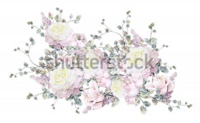 Naklejka ilustracja kwiatowa - różowa róża. gałęziasty kwiat z liśćmi odizolowywającymi na białym tle. Ładny skład na ślub lub kartkę z życzeniami. bukiet