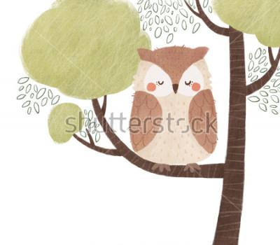 Naklejka Ilustracja ładna sowa