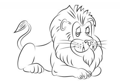 Naklejka ilustracja lwa animacji dla kolorowanka