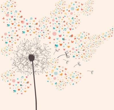 Naklejka Ilustracja mniszek wiosna
