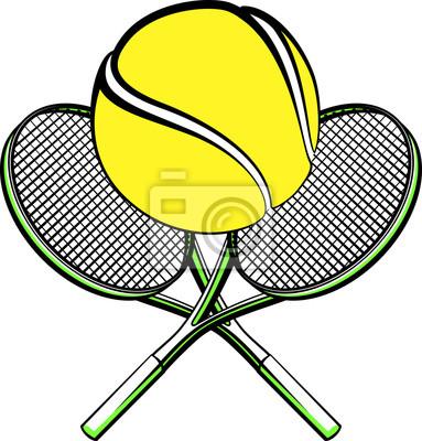 Naklejka Ilustracja piłki tenisowej siedzi na skrzyżowane rakiety.