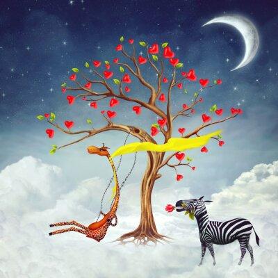 Naklejka Ilustracja pokazuje romantyczne relacje między żyrafa i zebra
