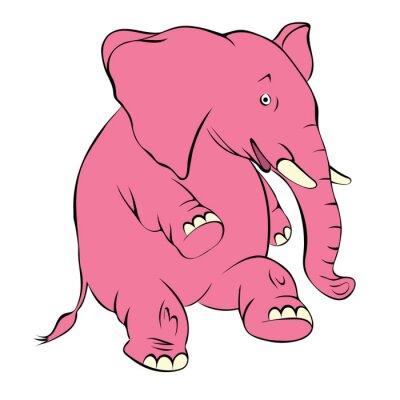 Naklejka Ilustracja radosny różowego słonia. Koszty słoń na tylnej nodze i uśmiechy