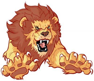 Naklejka Ilustracja ryczący lew Skaczący przód Vector