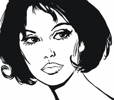 Naklejka Ilustracja twarzy piękne kobiety