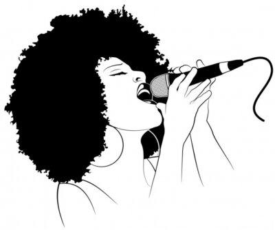 Naklejka Ilustracja wektorowa wokalistka jazzowa