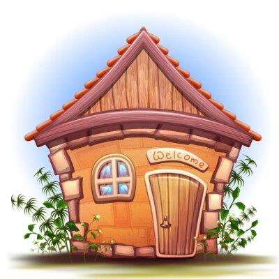 Naklejka Ilustracja z domu kreskówki
