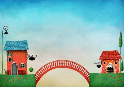 Naklejka Ilustracja z kolorowych domów i mostu