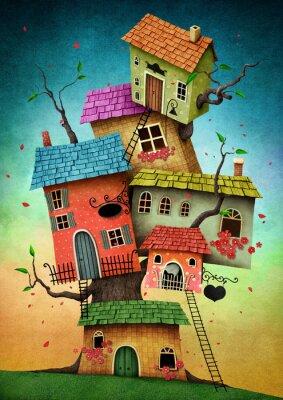 Naklejka Ilustracja z nierealnego domek na drzewie dla karty