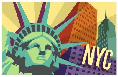 Naklejka Ilustracja z Nowego Jorku i Statuę Wolności
