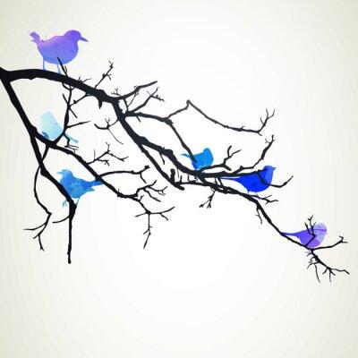 Naklejka Ilustracja z Oddziału z ptakami