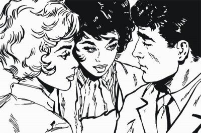 Naklejka ilustracja z para w miłości