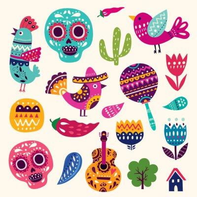 Naklejka Ilustracja z symboli Meksyku