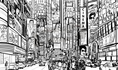 Naklejka Ilustracja z ulicy w Nowym Jorku