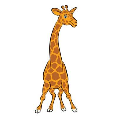 Naklejka Ilustracja zabawnej animacji żyrafa na książki dla dzieci