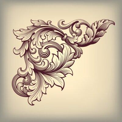 Naklejka Ilustracja zabytkowe ramki ozdobny barokowy róg