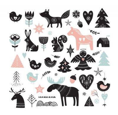 Naklejka Ilustracje świąteczne, elementy transparentu ręcznie rysowane elementy w stylu skandynawskim