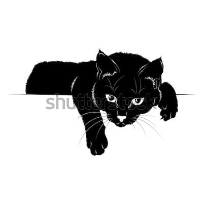 Naklejka Ilustracji wektorowych. Czarna sylwetka kota EPS 8