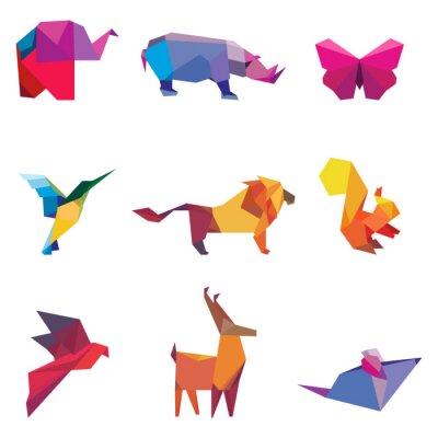 Naklejka Ilustracji wektorowych kolorowych zwierząt origami