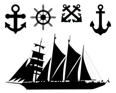Naklejka Ilustracji wektorowych kotew, sterów i łodzi